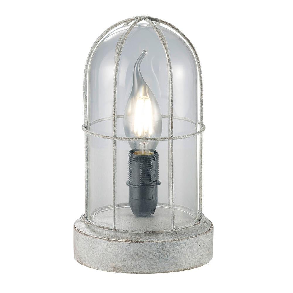 birte lampe de table rustique finition gris ancien et verre transparent 1l e14. Black Bedroom Furniture Sets. Home Design Ideas