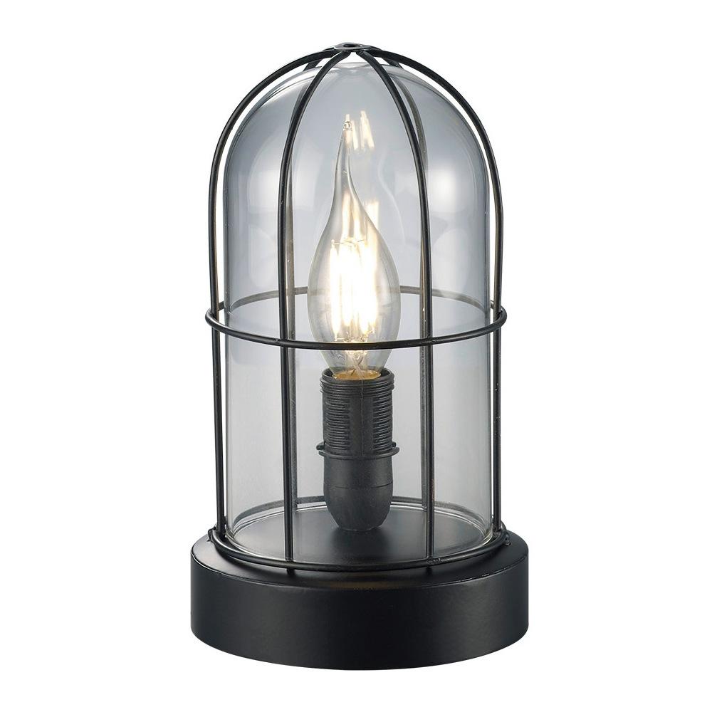 birte lampe de table rustique finition noire et verre transparent 1l e14. Black Bedroom Furniture Sets. Home Design Ideas