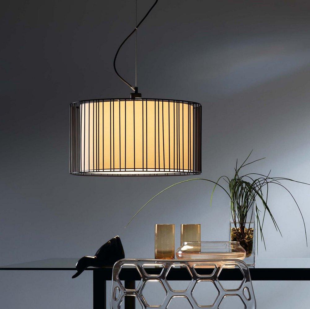 suspension moderne en m tal noir collection linda avec abat jour en tissu blanc faro 29313. Black Bedroom Furniture Sets. Home Design Ideas