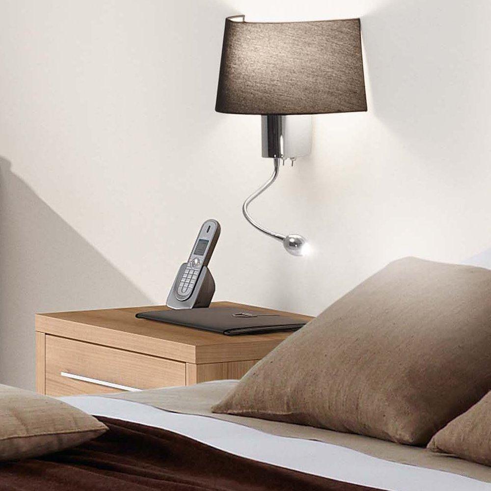 applique d corative collection hotel avec abat jour noir et liseuse led faro 29946 ean. Black Bedroom Furniture Sets. Home Design Ideas