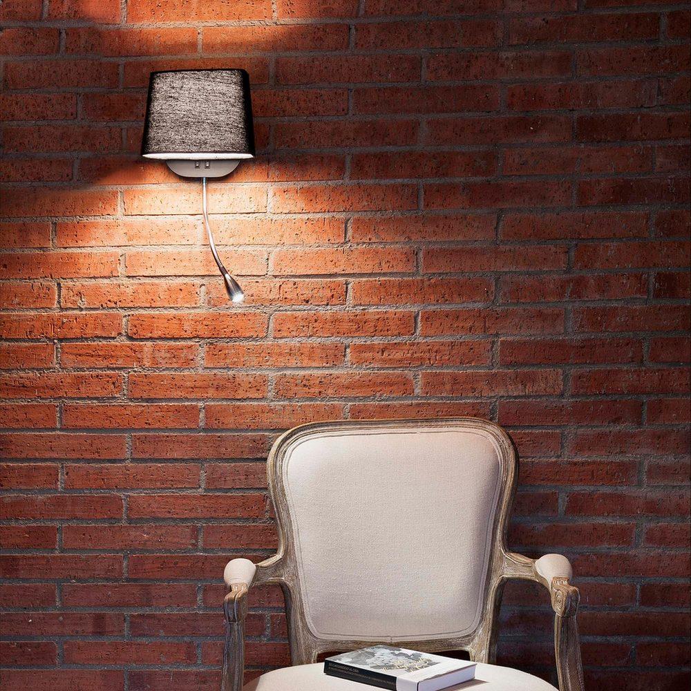 applique d corative collection sweet avec abat jour noir et liseuse led faro 29951 ean. Black Bedroom Furniture Sets. Home Design Ideas