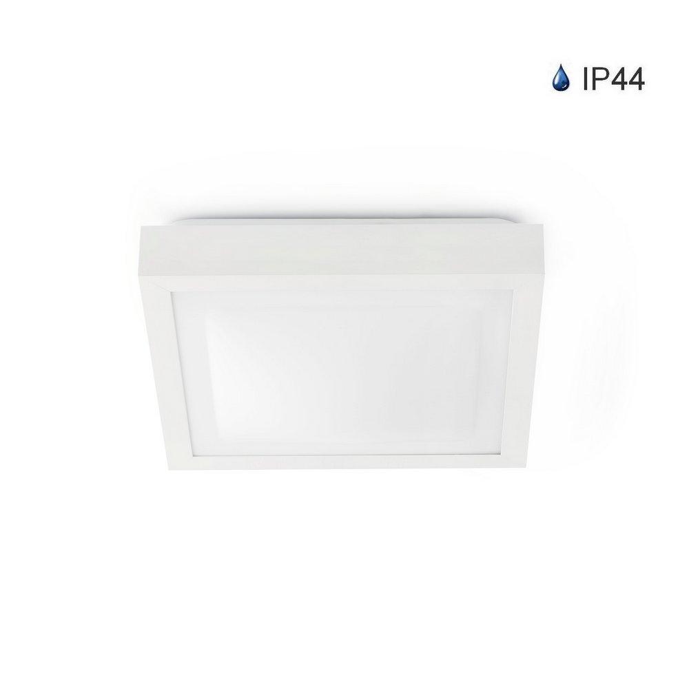 Plafonnier carré en aluminium blanc IP44 E27 FARO