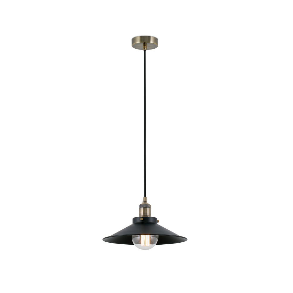 Marlin suspension lumineuse en m tal noir et or vieilli for Suspension lumineuse