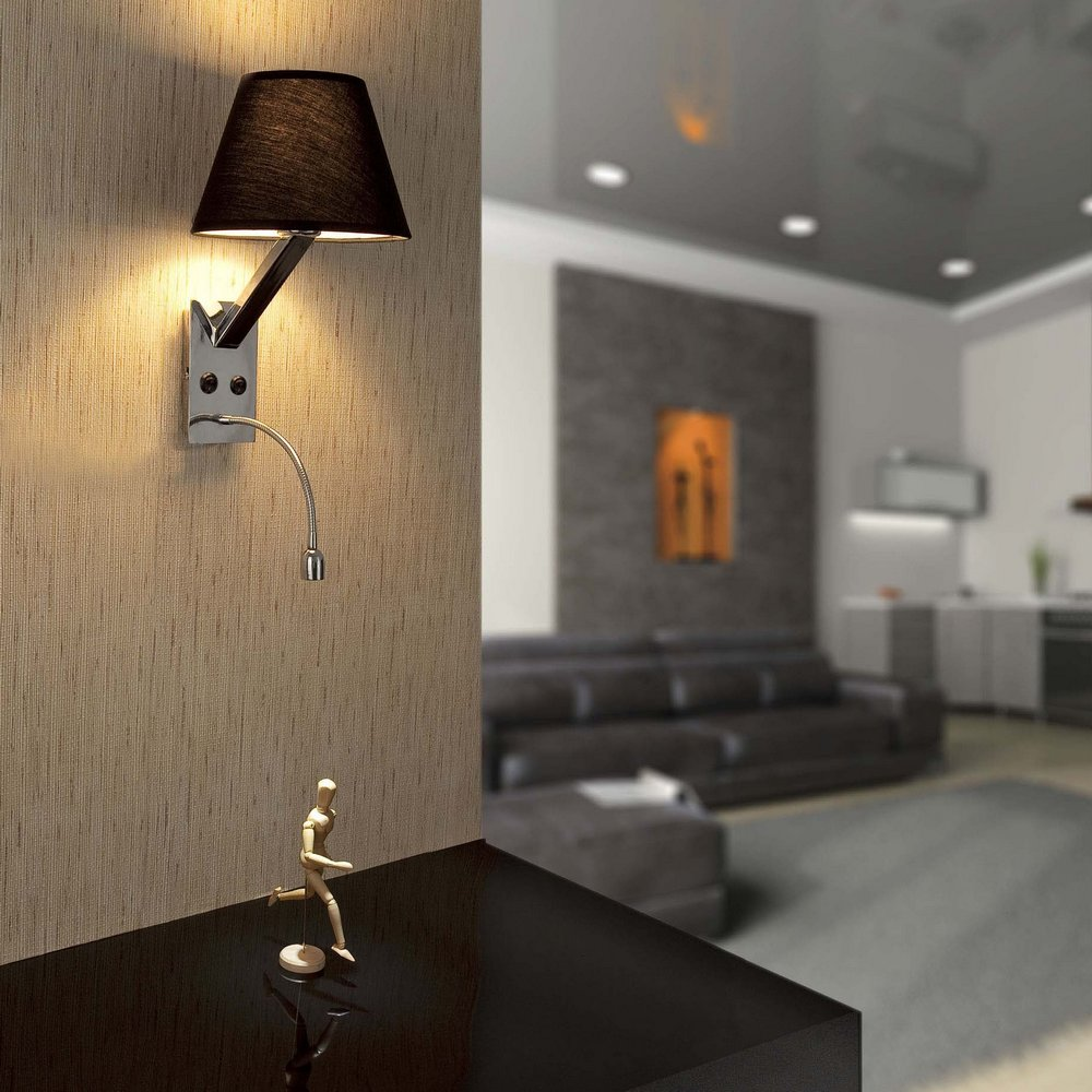 applique chrom e collection moma 2 avec abat jour en tissu. Black Bedroom Furniture Sets. Home Design Ideas