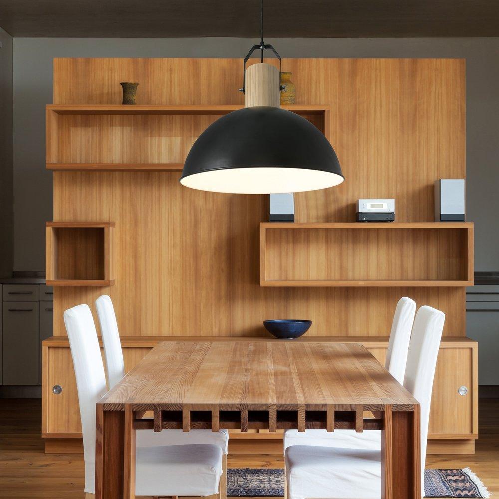 margot suspension d corative noire en m tal et bois faro. Black Bedroom Furniture Sets. Home Design Ideas