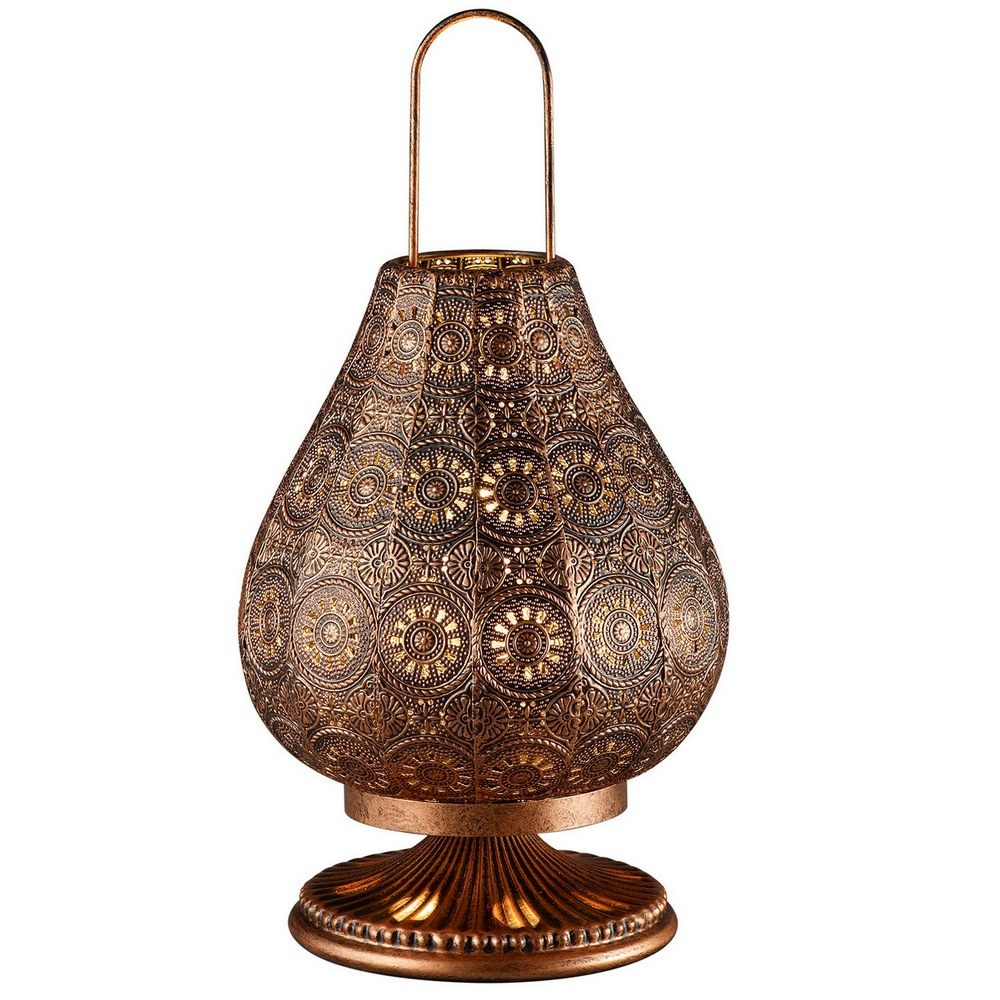 Jasmin lampe de table style orientale cuivre ancien 1l e14 for Lampe de chevet orientale