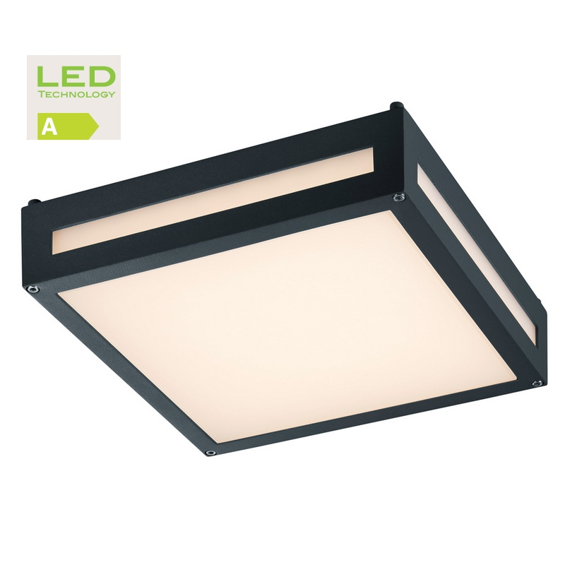 Newa applique ou plafonnier led 1000 lm anthracite for Plafonnier led exterieur