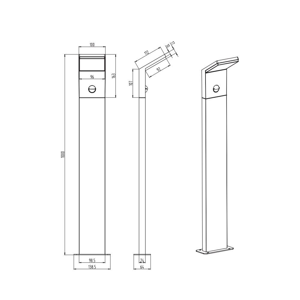 pearl borne led gris anthracite hauteur 100 cm avec d tecteur. Black Bedroom Furniture Sets. Home Design Ideas
