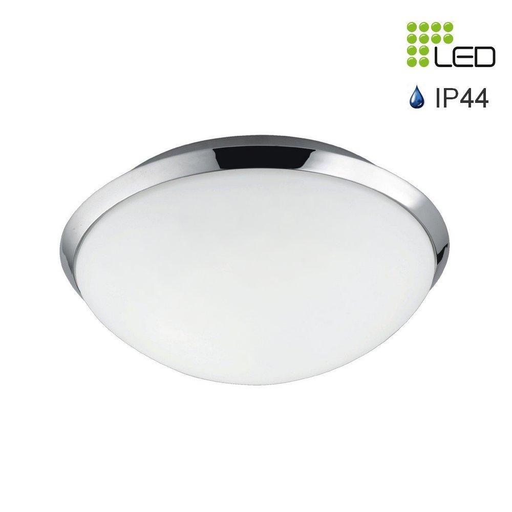 pledo plafonnier rond chrom verre blanc led 12w 840 lumens ip44. Black Bedroom Furniture Sets. Home Design Ideas