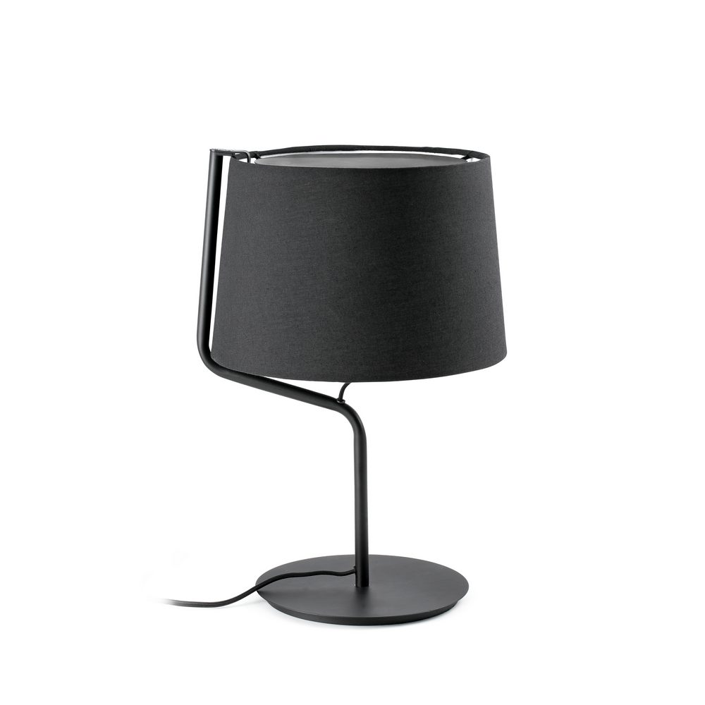 berni lampe de table d corative en m tal noir avec abat jour en tissu noir faro 29333. Black Bedroom Furniture Sets. Home Design Ideas