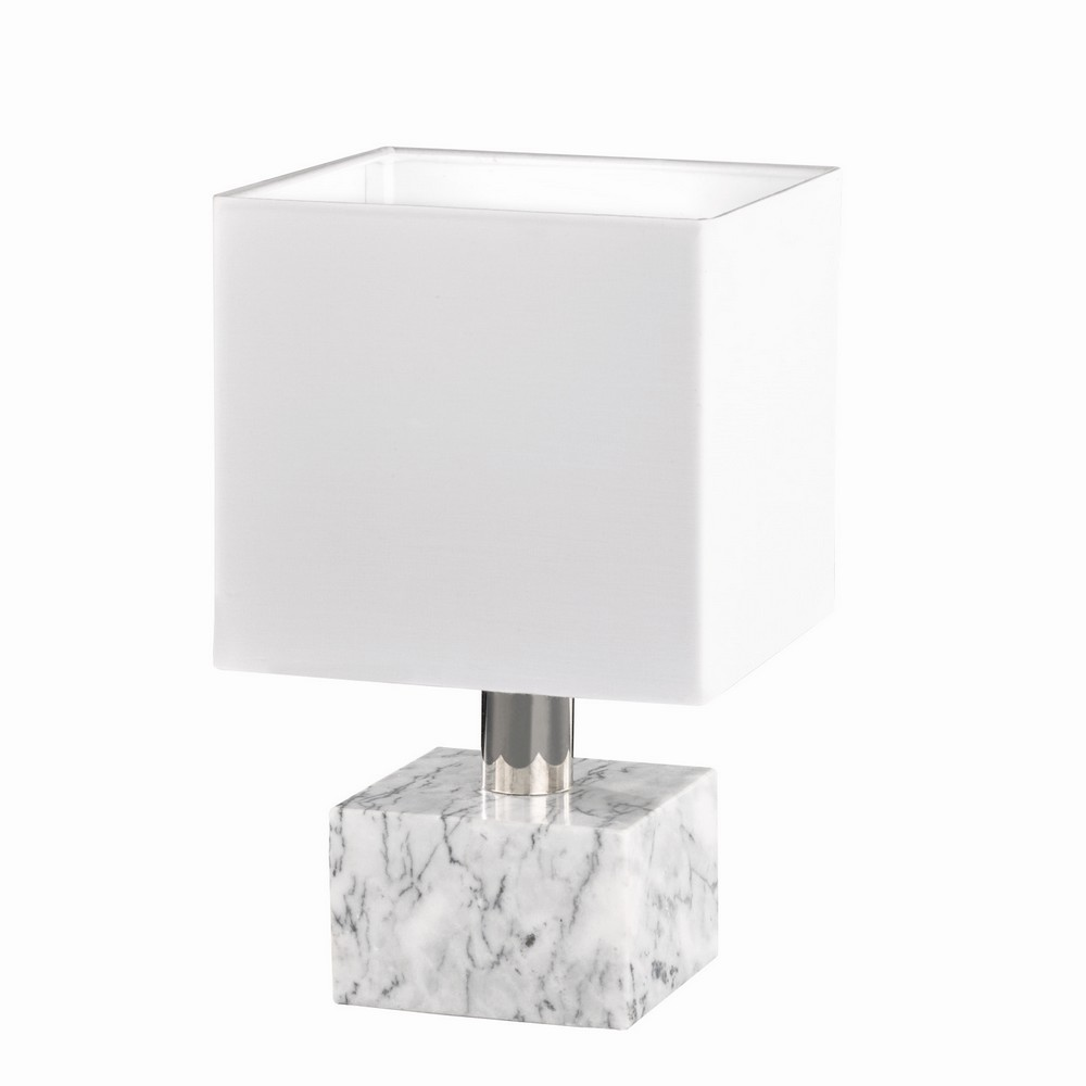 daytona lampe de table d corative socle en marbre blanc. Black Bedroom Furniture Sets. Home Design Ideas