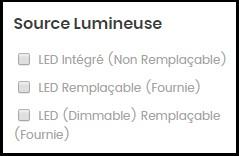 Tri en fonction de la source lumineuse des luminaires