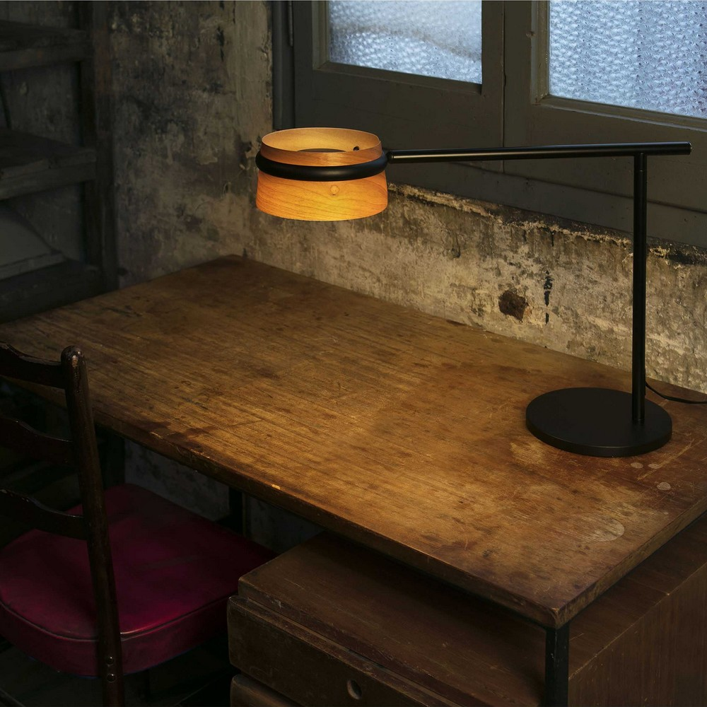 loop lampe de table d corative led en m tal et bois avec pince fixer. Black Bedroom Furniture Sets. Home Design Ideas