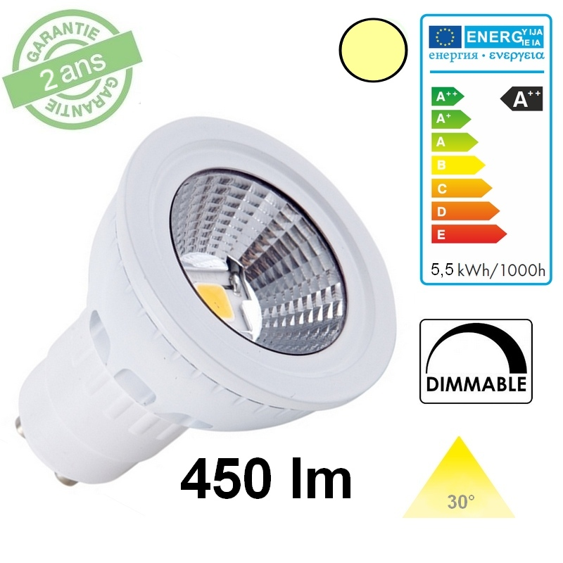GU10 LED COB 5,5W DIMMABLE 3000°K