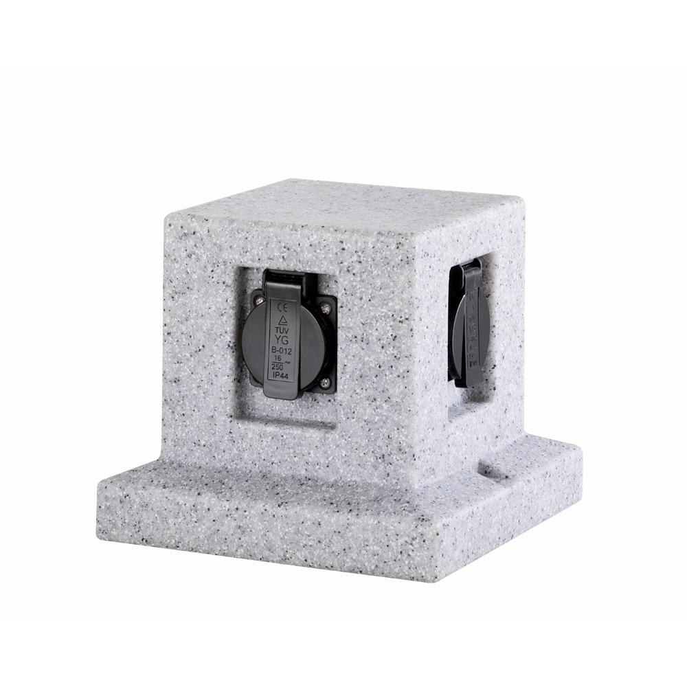 Rocher 2 cube de 4 prises de courant ext rieur design for Prise de courant exterieur