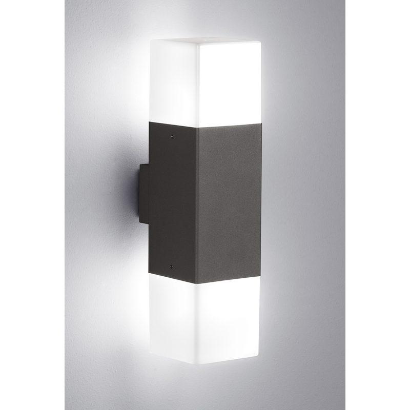 hudson applique murale double led 2x4w anthracite. Black Bedroom Furniture Sets. Home Design Ideas