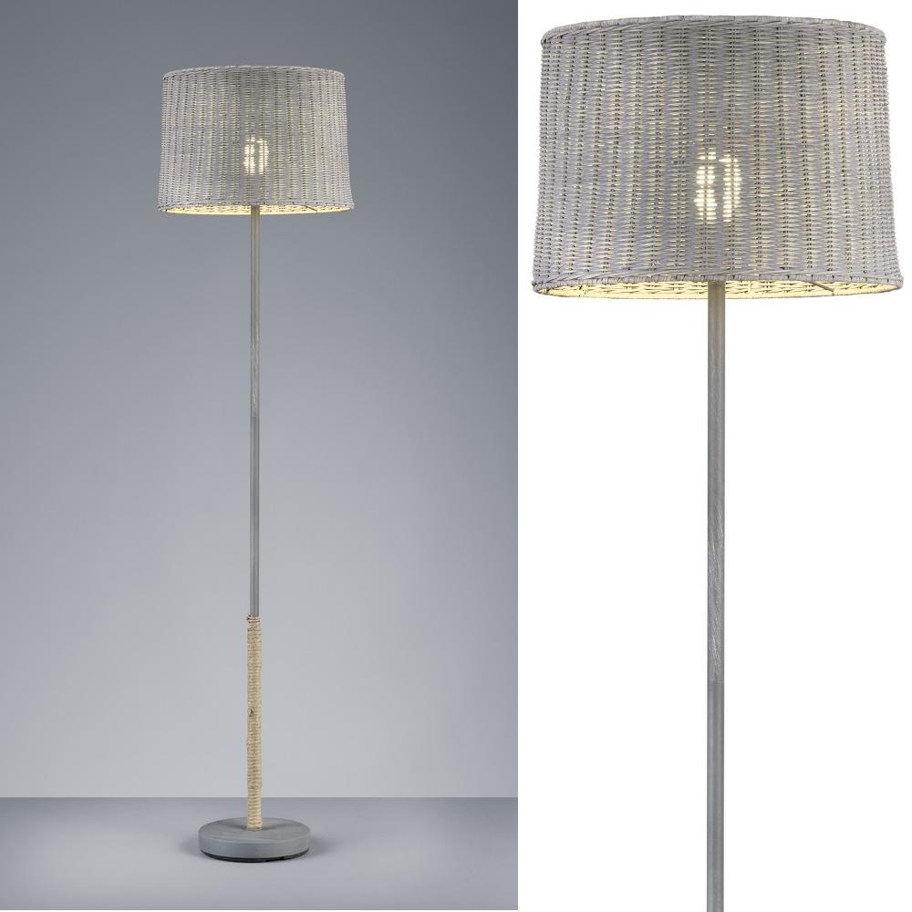 rotin lampadaire d corative en m tal gris avec abat jour. Black Bedroom Furniture Sets. Home Design Ideas
